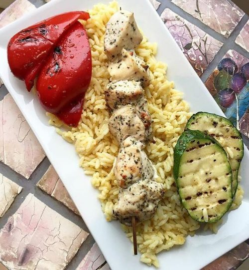 Chicken Brochette with yellow rice